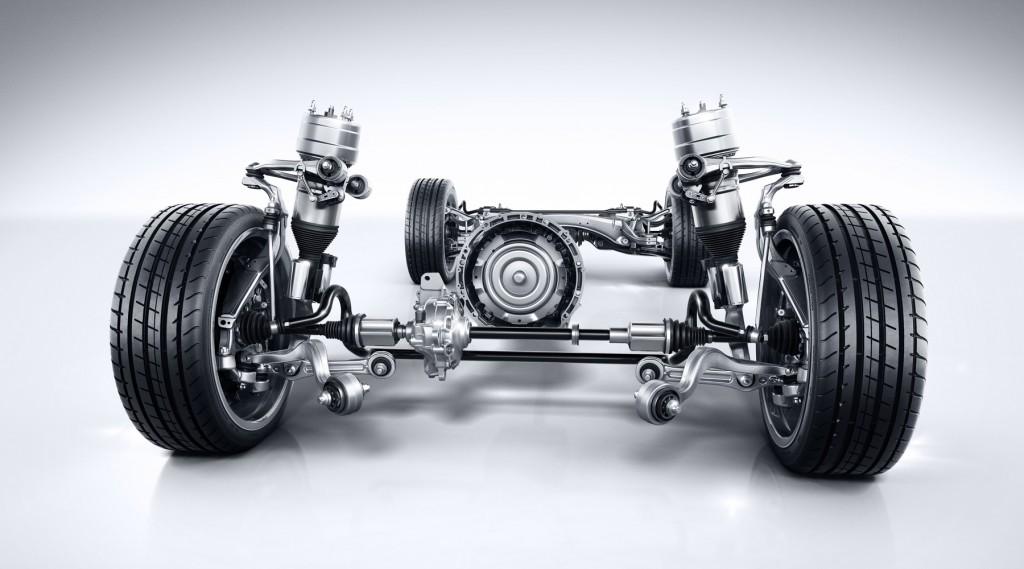 Mercedes-Benz GLC Antriebsstrang mit AIRMATIC Fahrwerk und Mehrkammer Luftfederbein. Mercedes-Benz GLC powertrain with AIRMATIC suspension and multi-chamber air suspension strut.
