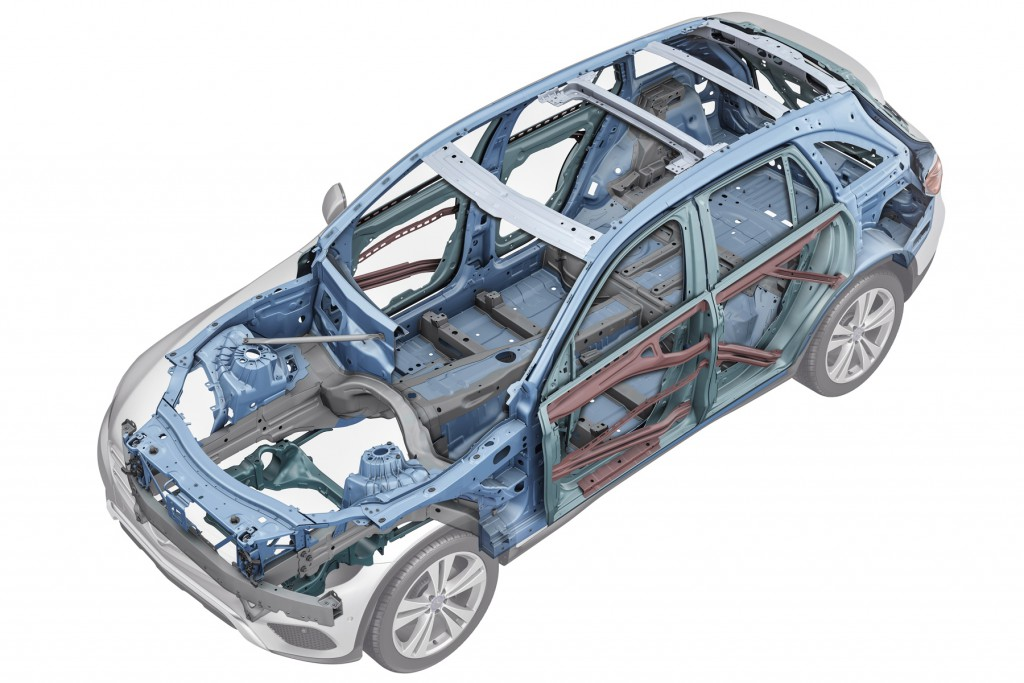 Mercedes-Benz GLC, Rohbau. Ein intelligenter Materialmix sorgt für eine steife Karrosserie und hervorragende Crashwerte  Mercedes-Benz GLC, bodyshell. An intelligent material mix ensures a rigid body structure and outstanding crash performance